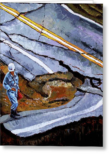 Looking Into The Abyss Greeting Card by John Lautermilch