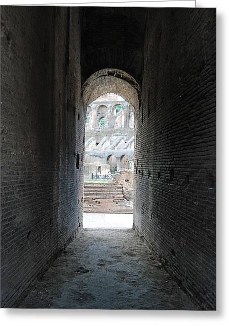 Looking Into The Colosseum Greeting Card by Armand Hebert