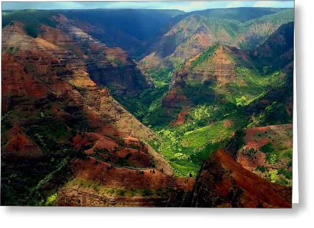 Looking Into Waimea Canyon Greeting Card by Connie Handscomb