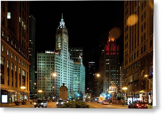 Looking North On Michigan Avenue At Wrigley Building Greeting Card