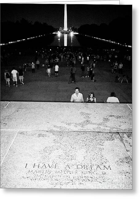 looking out of the lincoln memorial from the spot of the martin luther king I have a dream speech at Greeting Card
