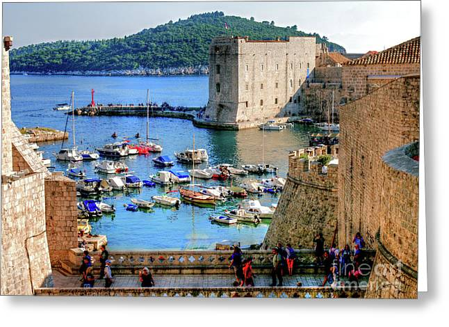 Looking Out Onto Dubrovnik Harbour Greeting Card