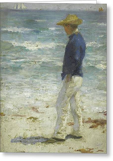 Greeting Card featuring the painting Looking Out To Sea by Henry Scott Tuke