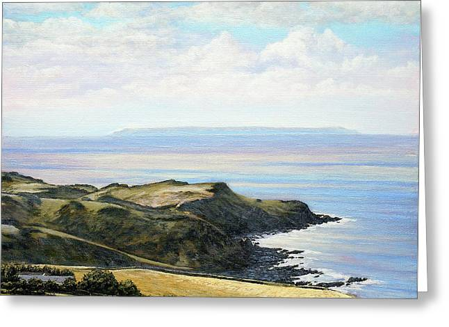 Looking Toward Lundy Island And Lee Bay From Ilfracombe Coast Path Greeting Card by Mark Woollacott