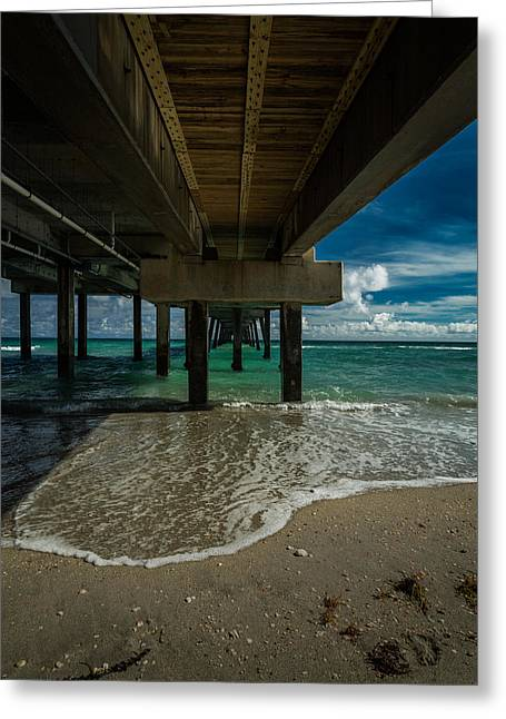 Looking Under The Pier Greeting Card