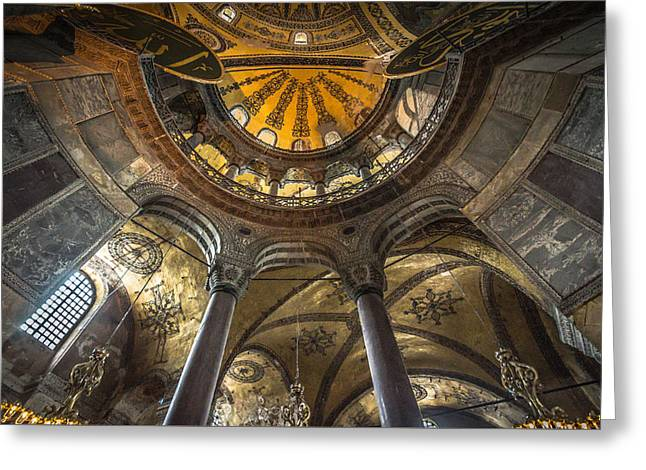 Aya Sofia Greeting Cards - Looking Up at the Aya Sofia Ceiling Greeting Card by Anthony Doudt
