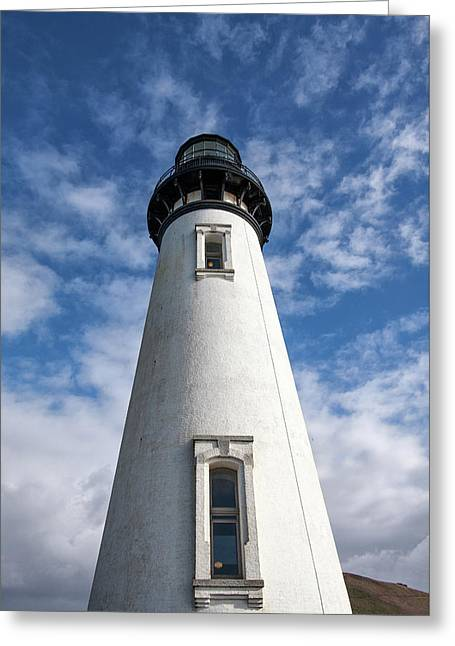 Greeting Card featuring the photograph Looking Up At The Lighthouse by Mary Jo Allen