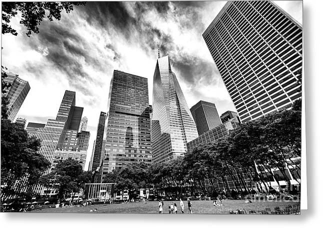 Looking Up In Bryant Park Greeting Card
