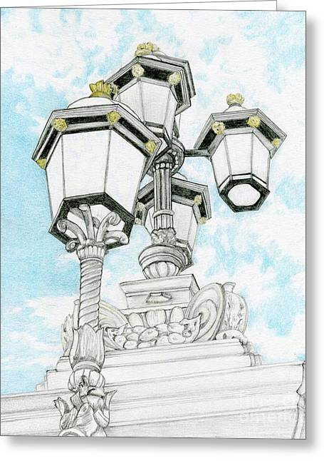 Looking Up In London Greeting Card by Tammie Painter