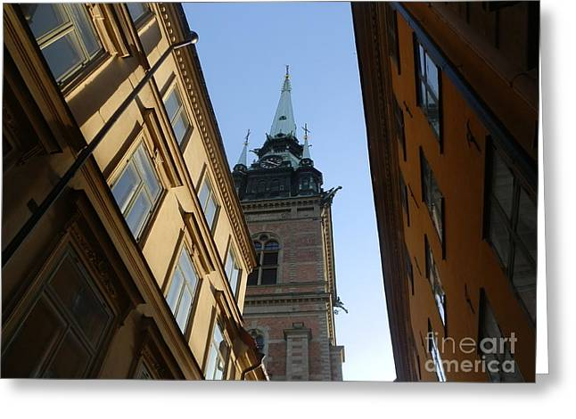 Looking Up From A Stockholm Street Greeting Card