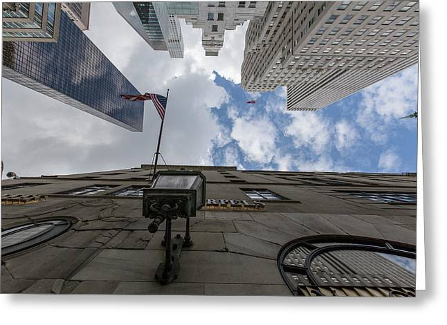 Looking Up Nyc 5th Ave Greeting Card by John McGraw