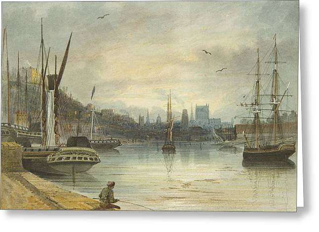 Looking Up The Floating Harbor Towards The Cathedral Greeting Card by Thomas Leeson the Elder Rowbotham