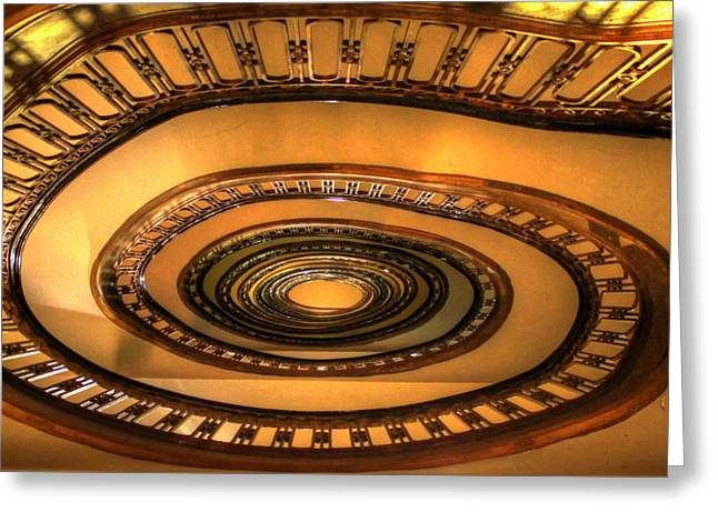 Looking Up The Ponce Stairway Atlanta Georgia Greeting Card by Reid Callaway