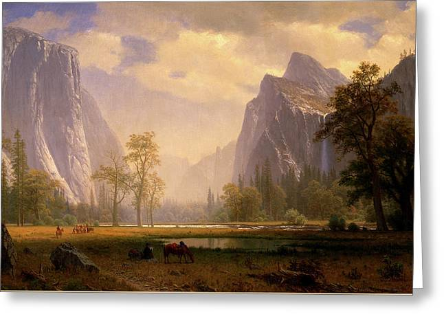 Looking Up The Yosemite Valley  Greeting Card by Albert Bierstadt