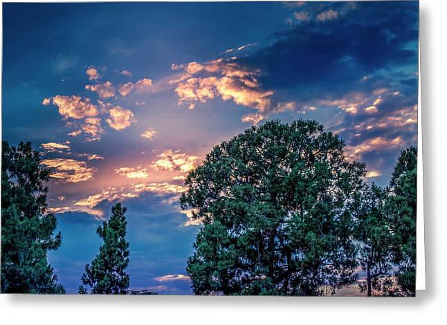 Looking West At Sunset Greeting Card