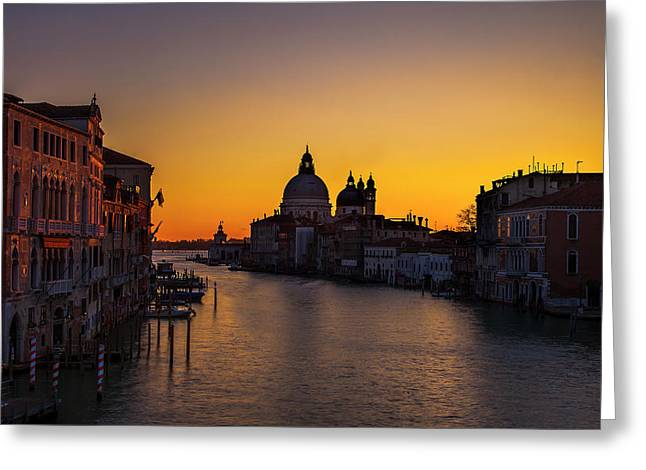 Looming Sunrise Over The Grand Canal Greeting Card by Andrew Soundarajan