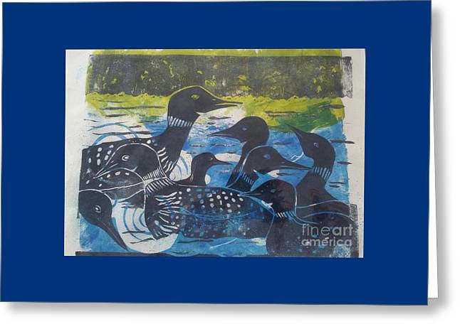 Loon, I See Greeting Card by Cynthia Lagoudakis