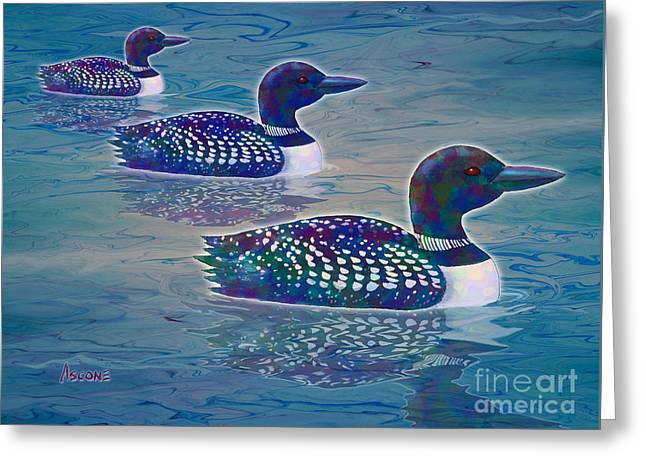 Greeting Card featuring the painting Loon Lagoon by Teresa Ascone