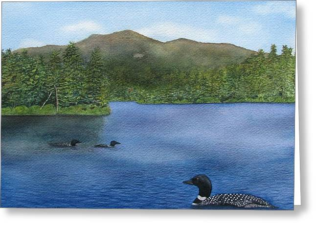 Loon Lake Greeting Card by Sharon Farber