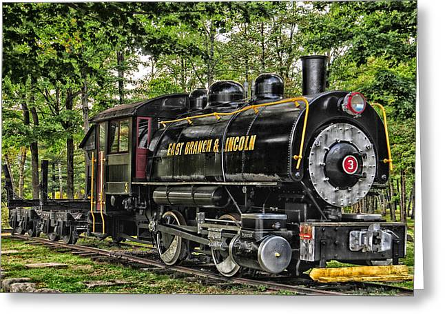 Loon Mountain Logging Locomotive Greeting Card by Mike Martin
