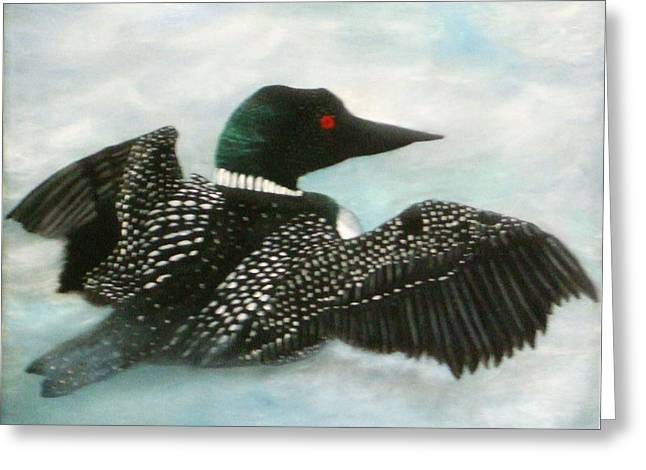 Loon Greeting Card by Rebecca  Fitchett