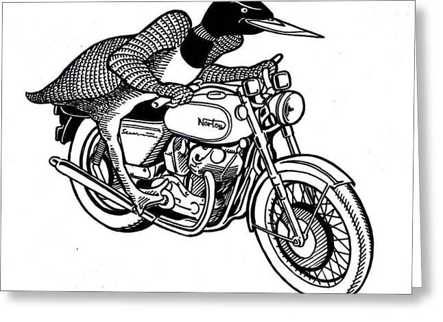 Loonie Rider On Norton Greeting Card