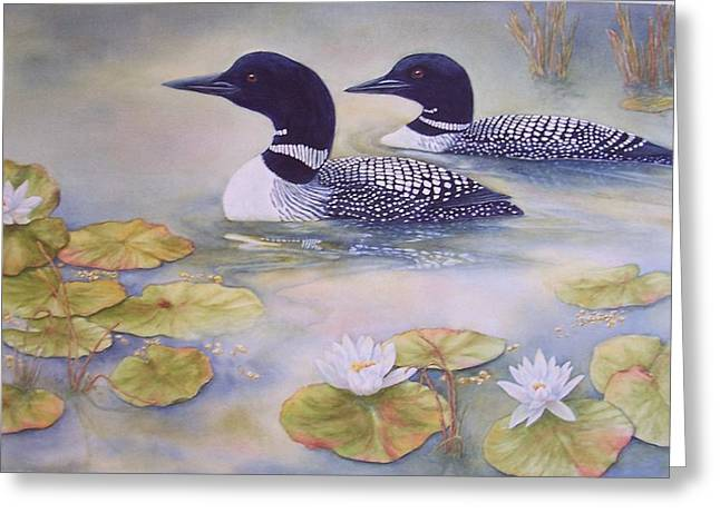 Loons In The Lilies Greeting Card by Cherry Woodbury