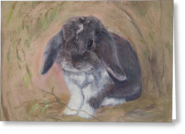 Lop Eared Rabbit- Socks Greeting Card