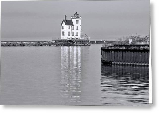 Lorain Harbor Light Black And White Greeting Card by Dan Sproul