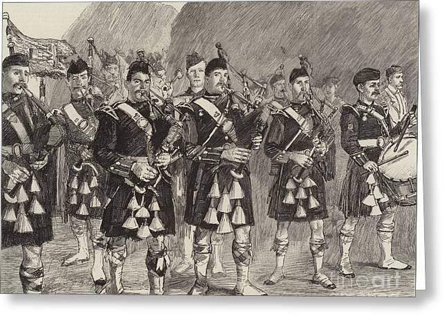 Lord Archibald Campbell And His Pipers Marching Through The Pass Of Glencoe Greeting Card by William Lockhart Bogle