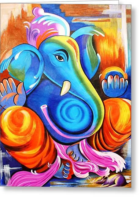 Lord Ganesh  Greeting Card by Rupa Prakash
