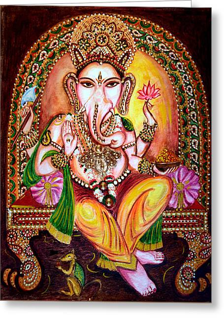 Greeting Card featuring the painting Lord Ganesha by Harsh Malik