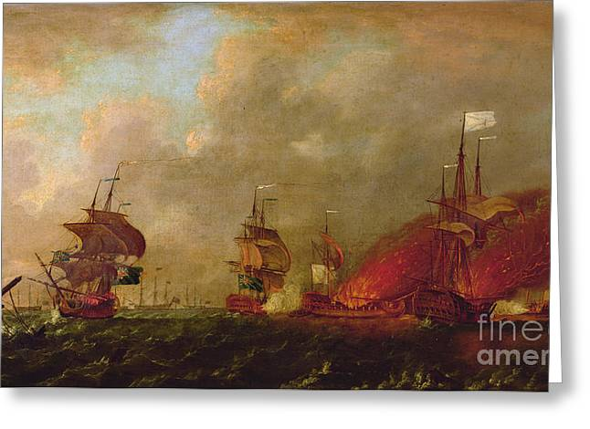 """sailing Ship"" Greeting Cards - Lord Howe and the Comte dEstaing off Rhode Island Greeting Card by Robert Wilkins"