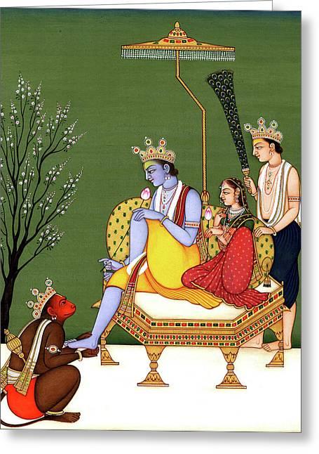 Lord Rama , Sita, Lakshmana And Devotee Hanuman Indian Miniature Painting Watercolor Artwork India Greeting Card by B K Mitra