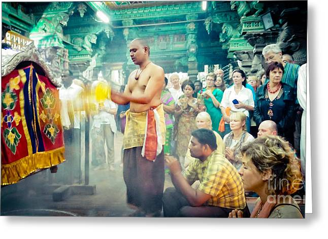 Greeting Card featuring the photograph Lord Shiva Meenakshi Temple Madurai India by Raimond Klavins