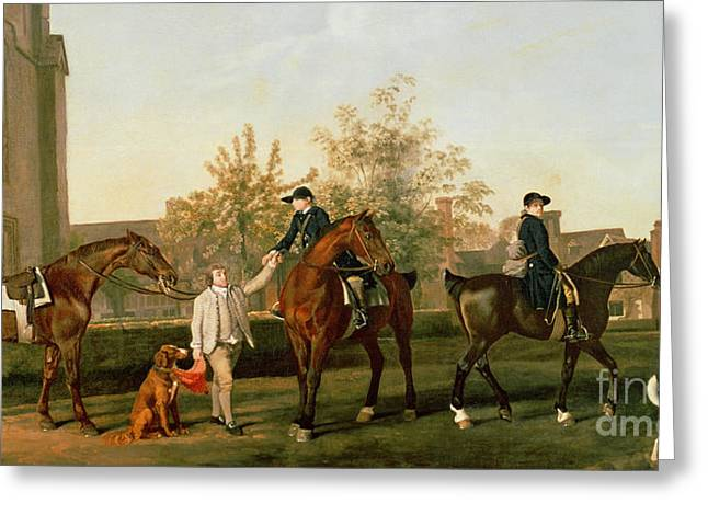 Lord Torrington's Hunt Servants Setting Out From Southill Greeting Card by George Stubbs