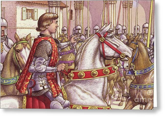 Lorenzo De Medici Reviews Loyal Soldiers In Florence's Piazza Di Signoria Greeting Card