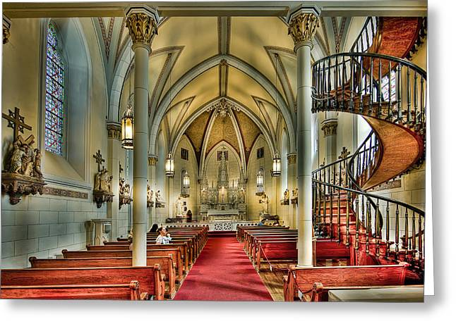 Greeting Card featuring the photograph Loretto Chapel Altar by Anna Rumiantseva
