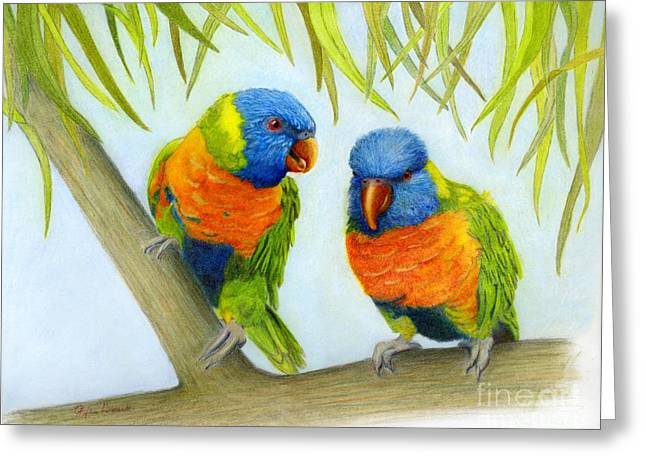Greeting Card featuring the painting Lorikeet Pair by Phyllis Howard