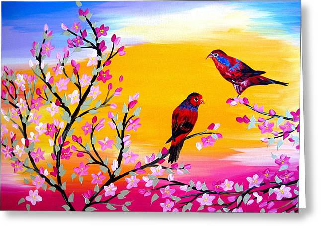 Lorikeets Greeting Card by Cathy Jacobs