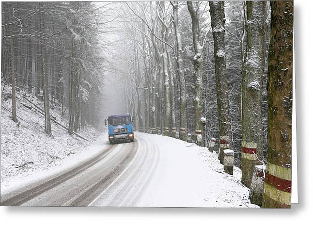 Greeting Card featuring the photograph Lorry In A Frozen Woods by Dubi Roman
