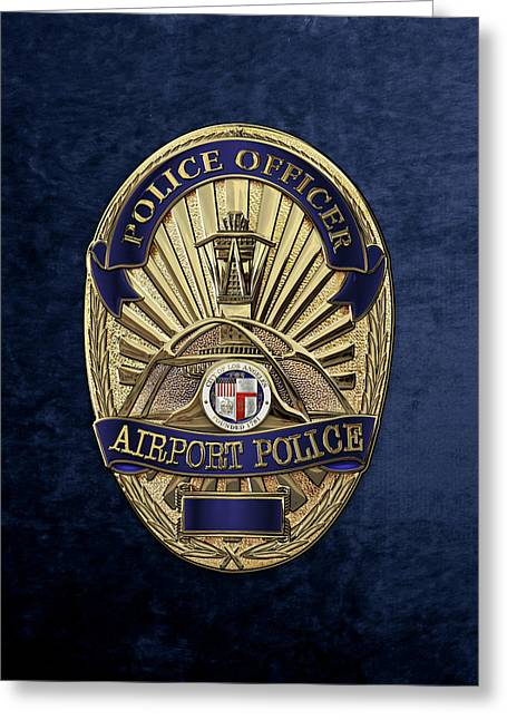 Los Angeles Airport Police Division - L A X P D  Police Officer Badge Over Blue Velvet Greeting Card by Serge Averbukh