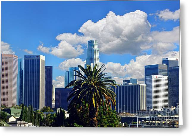 Los Angeles And Palm Trees Greeting Card by Mariola Bitner
