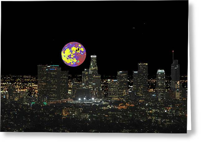 Los Angeles And The Super Alien Moon Greeting Card by Kenneth James