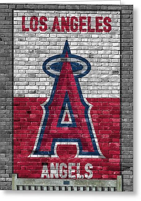 Los Angeles Angels Brick Wall Greeting Card by Joe Hamilton