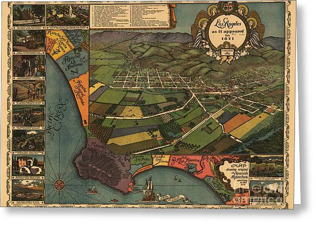 Los Angeles As It Appeared In 1871 Greeting Card