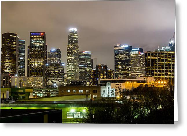 Los Angeles At Night Greeting Card by April Reppucci