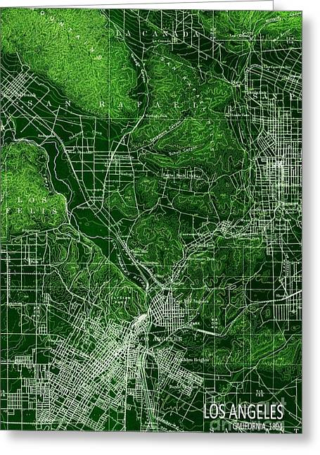 Los Angeles California 1894 Green Old Map Greeting Card