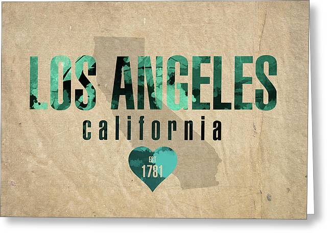 Los Angeles California City Love Established 1781 Series 001 Greeting Card by Design Turnpike