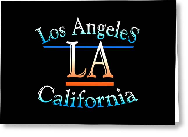 Los Angeles California Tshirt Design Greeting Card by Art America Gallery Peter Potter